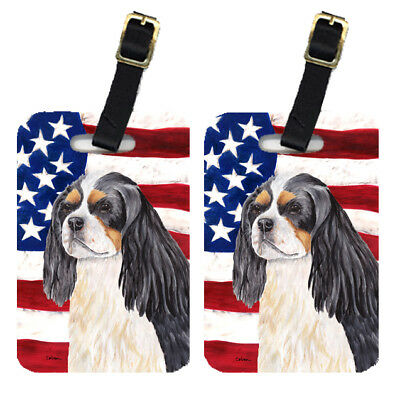 Pair of USA American Flag with Cavalier Spaniel Luggage Tags