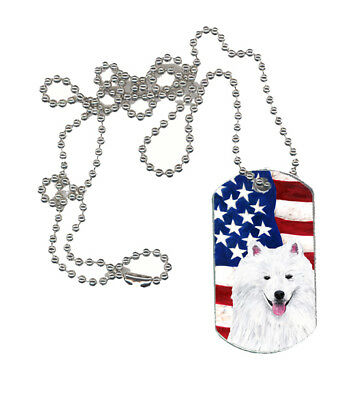 Carolines Treasures  SC9023DT USA American Flag with American Eskimo  Dog Tag