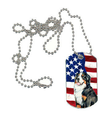 Carolines Treasures  LH9003DT USA American Flag with Bernese Mountain Dog  Dog T