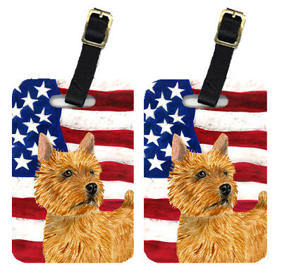 Pair of USA American Flag with Norwich Terrier Luggage Tags