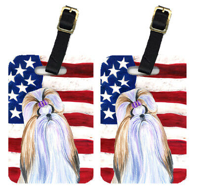 Pair of USA American Flag with Shih Tzu Luggage Tags
