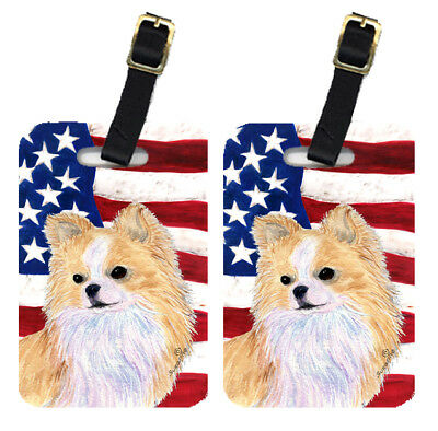 Pair of USA American Flag with Chihuahua Luggage Tags