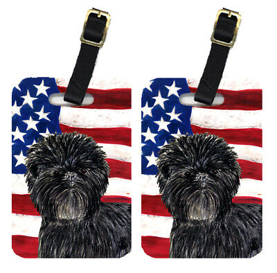 Pair of USA American Flag with Affenpinscher Luggage Tags