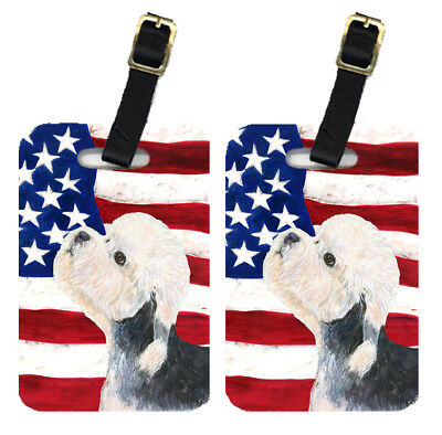 Pair of USA American Flag with Dandie Dinmont Terrier Luggage Tags