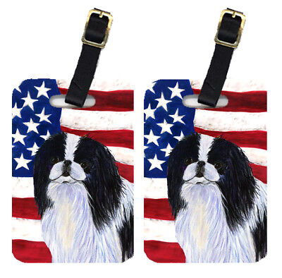 Pair of USA American Flag with Japanese Chin Luggage Tags