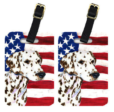 Pair of USA American Flag with Dalmatian Luggage Tags