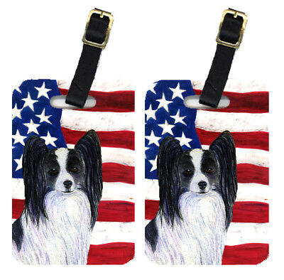 Pair of USA American Flag with Papillon Luggage Tags