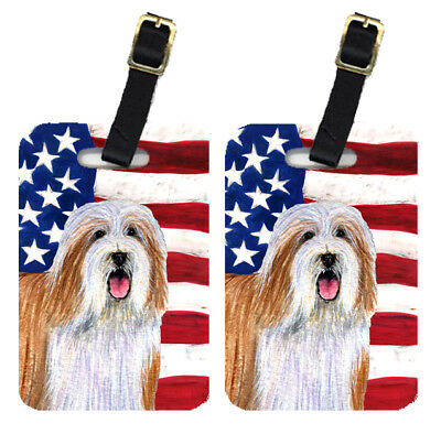 Pair of USA American Flag with Bearded Collie Luggage Tags
