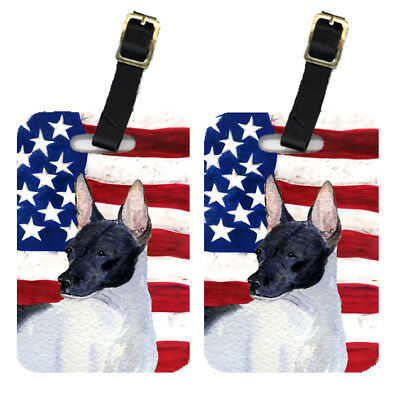 Pair of USA American Flag with Rat Terrier Luggage Tags
