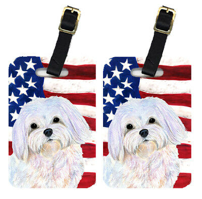 Pair of USA American Flag with Maltese Luggage Tags