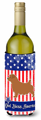 USA Patriotic Norfolk Terrier Wine Bottle Beverge Insulator Hugger