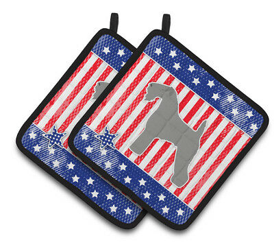 USA Patriotic Kerry Blue Terrier Pair of Pot Holders