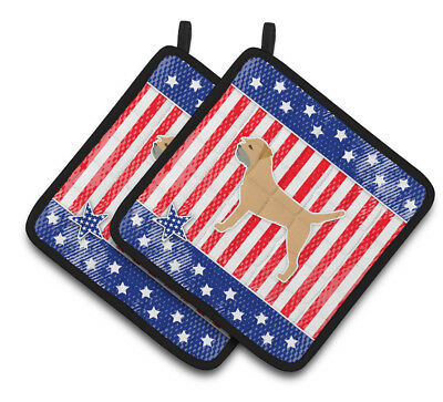 Carolines Treasures  BB3289PTHD USA Patriotic Border Terrier Pair of Pot Holders