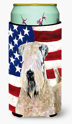 USA American Flag with Wheaten Terrier Soft Coated  Tall Boy Beverage Insulator