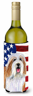 USA American Flag with Bearded Collie Wine Bottle Beverage Insulator Beverage In