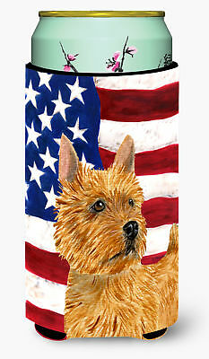 USA American Flag with Norwich Terrier  Tall Boy Beverage Insulator Beverage Ins
