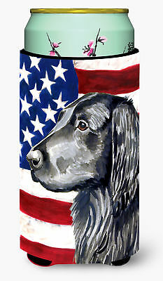 USA American Flag with Flat Coated Retriever  Tall Boy Beverage Insulator Bevera
