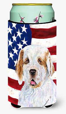 USA American Flag with Clumber Spaniel  Tall Boy Beverage Insulator Beverage Ins