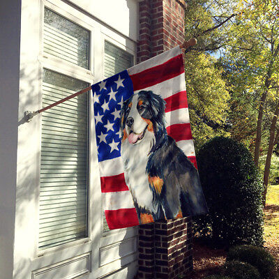 USA American Flag with Bernese Mountain Dog Flag Canvas House Size
