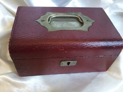 ANTIQUE VINTAGE WOODEN JEWELERY BOX,RED LEATHER ,VICTORIAN,FITTED,17.5 x 12CM