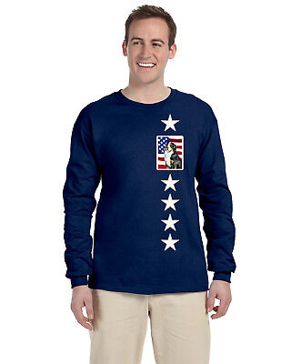 USA American Flag with Bernese Mountain Dog Long Sleeve Blue Tshirt Medium