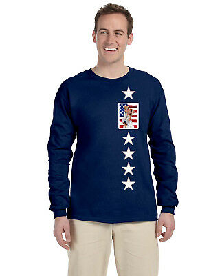 Wire Fox Terrier with American Flag USA Long Sleeve Blue Unisex Tshirt Large