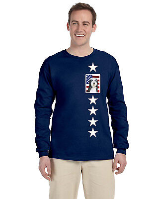 USA American Flag with Bearded Collie Long Sleeve Blue Unisex Tshirt Medium