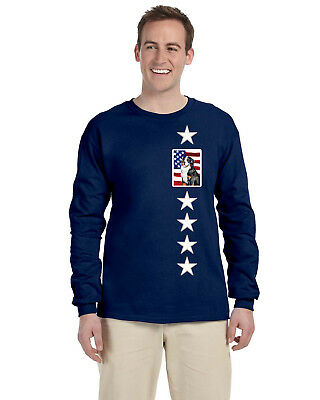 USA American Flag with Bernese Mountain Dog Long Sleeve Blue Unisex Tshirt 2XL
