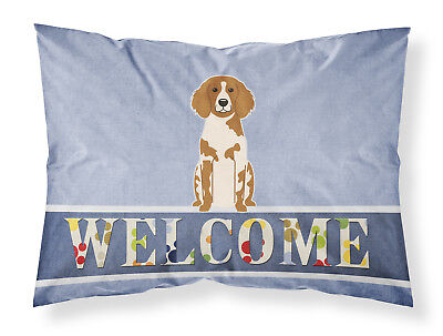 Brittany Spaniel Welcome Fabric Standard Pillowcase