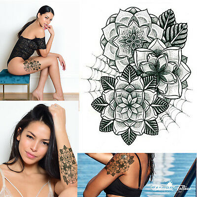 Mandala Lotus Flowers Temporary Tattoo - Spider Web Black Tribal Mehndi Womens