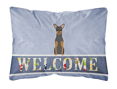 Manchester Terrier Welcome Canvas Fabric Decorative Pillow