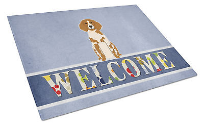 Brittany Spaniel Welcome Glass Cutting Board Large