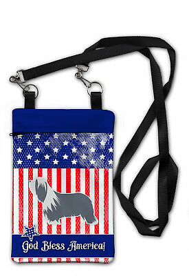 Carolines Treasures  BB3317OBDY USA Patriotic Bearded Collie Crossbody Bag Purse