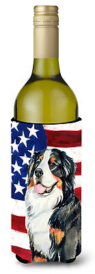 USA American Flag with Bernese Mountain Dog Wine Bottle Beverage Insulator Bever