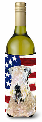 USA American Flag with Wheaten Terrier Soft Coated Wine Bottle Beverage Insulato
