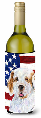 USA American Flag with Clumber Spaniel Wine Bottle Beverage Insulator Beverage I