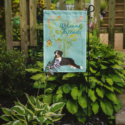 Welcome Friends Bernese Mountain Dog Flag Garden Size