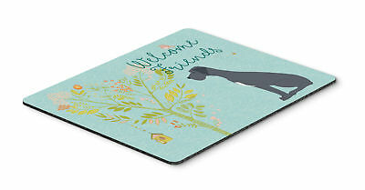 Welcome Friends Black Great Dane Mouse Pad, Hot Pad or Trivet