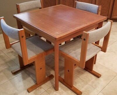 Mid Century Teak Card / Game Table w/ 4 Original Chairs