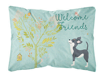 Welcome Friends Black White Chihuahua Canvas Fabric Decorative Pillow
