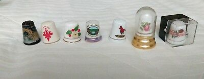 Vintage lot of 7 thimbles, Louisville, Kentucky, Rising Sun, Olyimpia and more