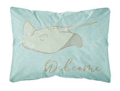 Sting Ray Welcome Canvas Fabric Decorative Pillow