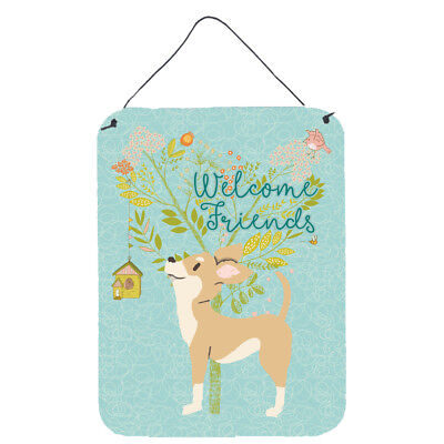 Welcome Friends Brown White Chihuahua Wall or Door Hanging Prints