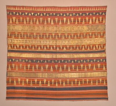 Antique Indonesian Tapis Sumatra Sarong Gold Embroidery Textile Tapestry