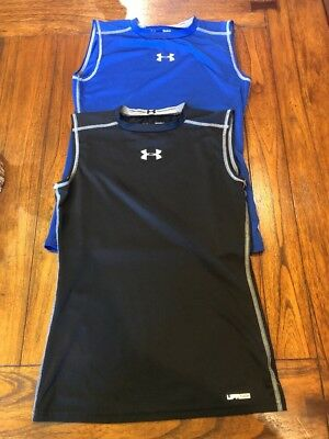 Lot Boys Under Armour Fitted Sleeveless Shirts Large