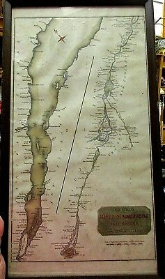 18th Century Map The Course of the River St. Laurence Hand Colored Framed