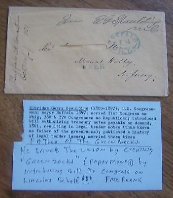 Envelope Signed By Congressman Elbridge Gerry Spaulding 1851 Buffalo Postmark