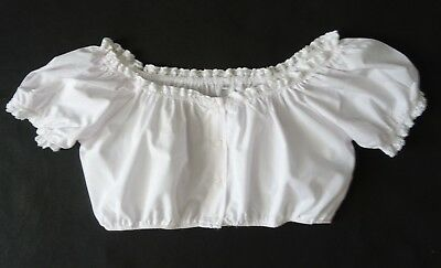 German Bavarian White Crop Dirndl Blouse 10-12