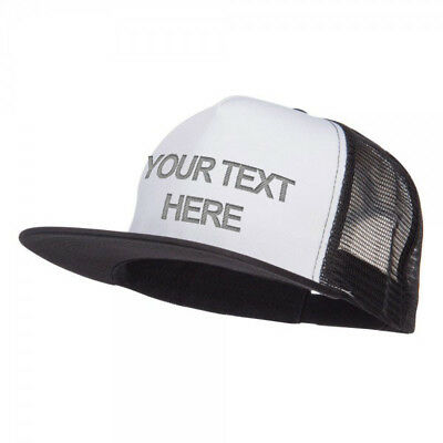 Custom Personalized Embroidered Text on White Black Trucker Hat Cap Flat Brim