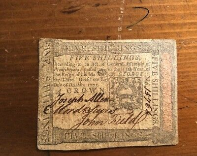 1773 Pennsylvania 5 Shillings Fr-PA-166 Colonial Currency